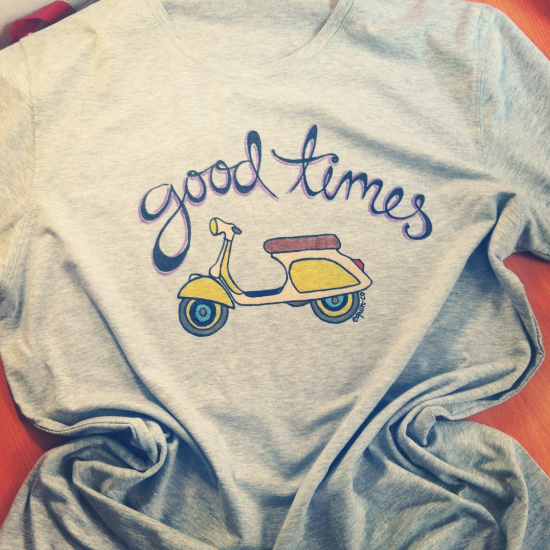 """Good times"" lettering and vespa illustration, designed and hand-painted by equin-co designs."