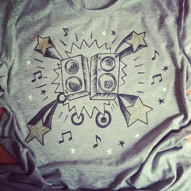 Stereo illustration- designed and hand-painted on grey cotton t-shirt by equin-co designs.